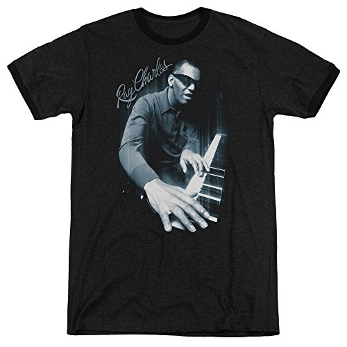 Ray Charles Blues Piano Mens Adult Heather Ringer Shirt Black 2X