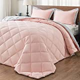 downluxe Lightweight Solid Comforter Set (Queen) with 2 Pillow Shams - 3-Piece Set - Coral and Grey - Hypoallergenic Down Alternative Reversible Comforter