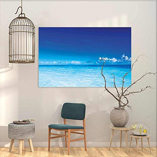 (Oncegod Graffiti Canvas Painting Sticker Landscape Ocean Scenery Deep Sea Beach Hot Summer Themed Photo for Living Room,Dinning Room, Bedroom Turquoise Pale Blue and Dark Blue W31 xL23)