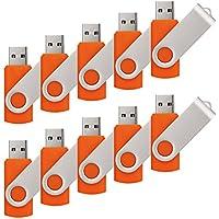 RAOYI 10PCS 4GB USB Flash Drive Orange Pen Drive Thumb Drive USB 2.0 Memory Stick Swivel Design(Ship From USA)