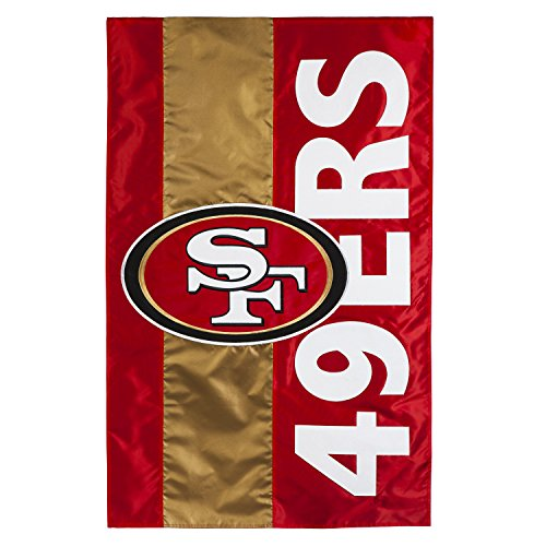 Team Sports America San Francisco 49ers Outdoor Safe Double-Sided Embroidered Logo Applique House Flag, 28 x 44 inches (49ers Francisco San Coaches Mens)