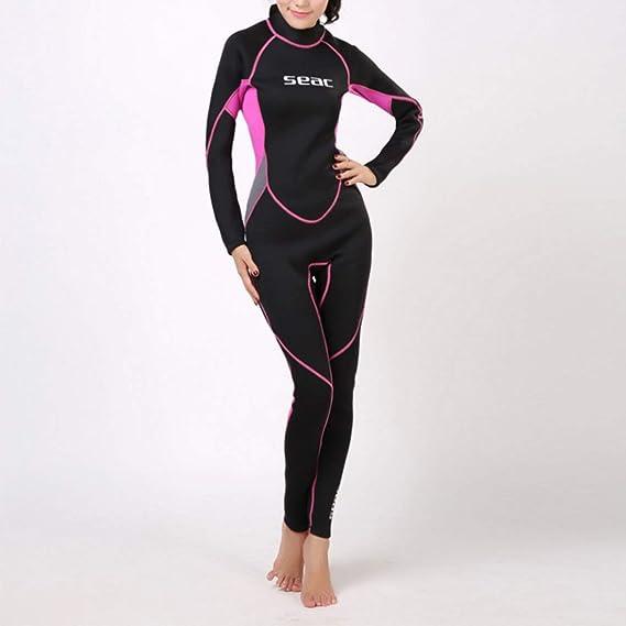 KERVINFENDRIYUN Tuta da Sub Femminile Spessore 3mm Abbigliamento da Immersione Materiali in Neoprene Protezione Solare Abbigliamento Termico Design Coordinato a Manica Lunga