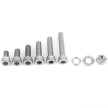 Details about  /500pcs Stainless Steel Hex Socket Cap Head Bolts Screws Nuts Kit M3 M4 M5 304 CS