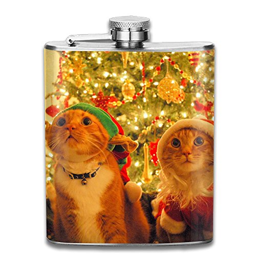 Tydo Christmas Cats Santa Hat Stainless Steel Hip Flask Liquid Courage Flasks Outdoor Portable Wine Bottle For Whiskey Alcohol