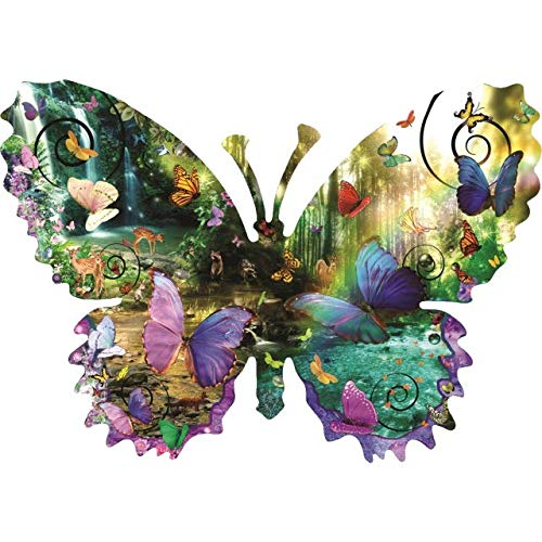 Forest 1000 Piece Puzzle - Forest Butterfly 1000 pc Shaped Jigsaw Puzzle by SunsOut