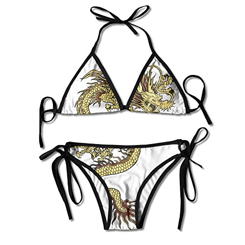 Fashion Women Chinese Dragon Gold Printing Sexy Two-Piece Bikini Set Beach Bathing - Gold Sunglasses Bottom Top White