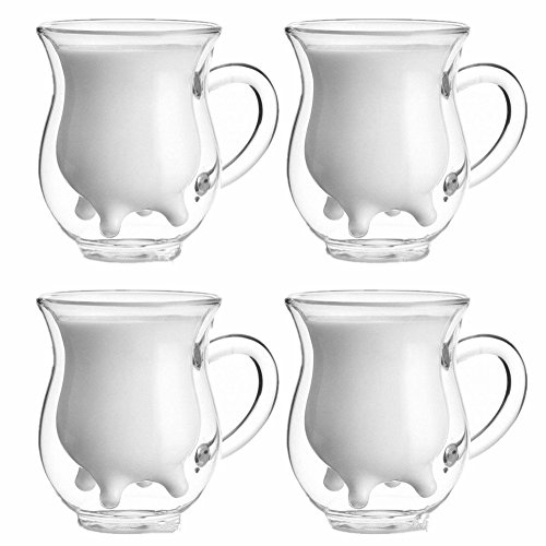 250ml Handcraft Borosilicate Glass Cup Creative Cute Tea Milk Cup Coffee Glass Cup,Set of 4