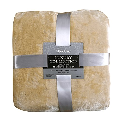 Qbedding Blankets | Microplush Fleece Blanket | Luxury Collection : Extra-thick (380 GSM) and Anti-Static (Chestnut, Twin, 59x78) (Extra Thick Throw Blanket compare prices)
