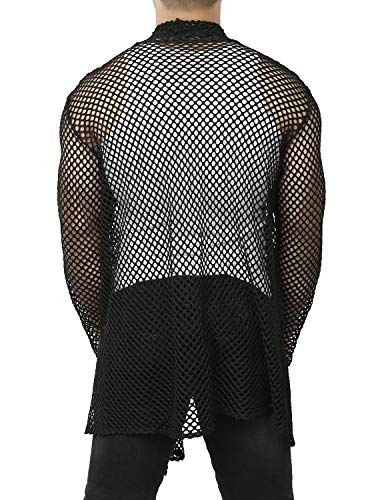 4ff6a1f18f8 JOGAL Men's Mesh Fishnet Cardigan Fitted Muscle Top | Weshop Vietnam
