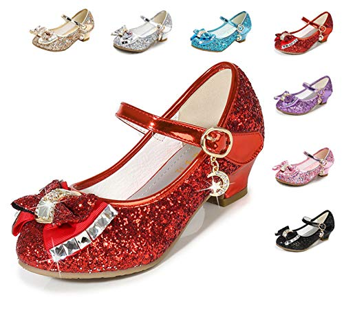 Cadidi Dinos Girls Dress Wedding Party Heel Mary Jane Princess Flower Shoes (Toddler/Little Kid/Big Kid) 13 M US Little Kid ()