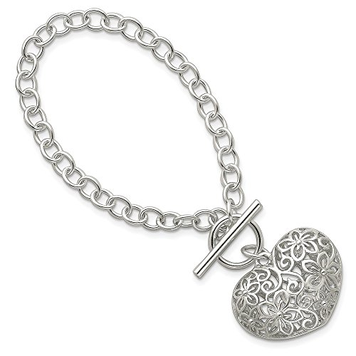 925 Sterling Silver Heart Toggle Bracelet 7.75 Inch Charm W/charm/love Fine Jewelry Gifts For Women For Her