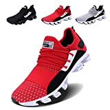 VOEN Mens Casual Walking Shoes Blade Outdoor Sport Sneakers Mesh Breathable Fashion Shoe Red Size 39