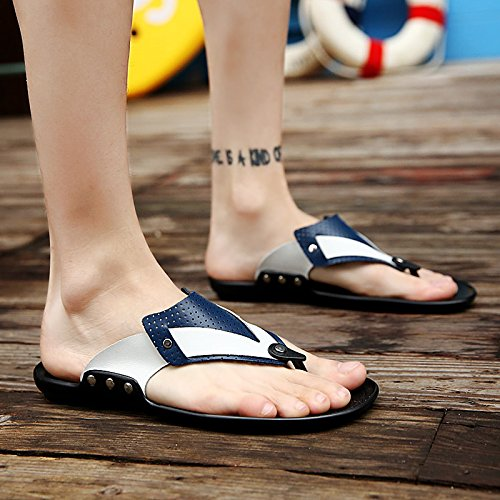 Abby 079 Mens Open Toe Comfy Thongs Fresh Walkinng Slide Breathable Casual Leisure Beach Sandals Flats Leather Relaxing Lightweight Backless Flip Flops Blue vzHPFYyF3