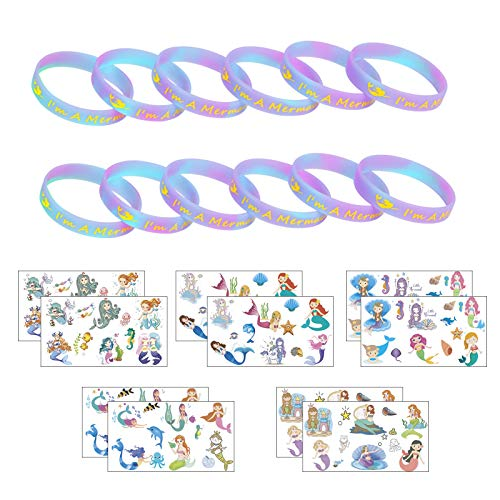 ZERHOK Mermaid Party Favors 12pcs I'm A Mermaid Bracelets and 10 sheets Mermaid Temporary Tattoos Under the Sea Themed Party Supplies Goody Bag Gifts for Boys Girls Carnival Prizes