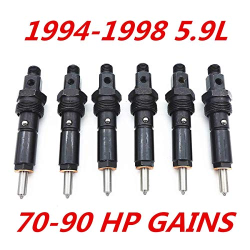 Bosting Fuel Injectors Set Fits for 94 95 96 97 98 Dodge 5.9L Cummins 12V Stage 2: 70-90 HP Gains 12MM Thread Only 154 Degree Spray Pattern Nut Size is -