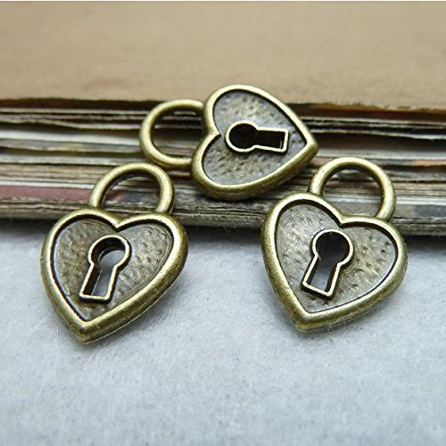 12 pcs Antique Bronze Two Sided Heart Lock Charm Pendant 14x19mm (CB191) ()