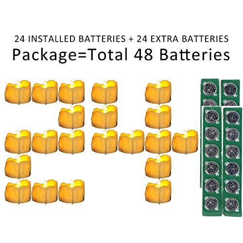 (Micandle 24Pack LED Timer Candle with Extra 24PCS CR2032 Batteries,6 Hours on and 18 Hours Off in 24 Hours Cycle,Wax Dripped Yellow Flicker Flameless Timer Tea Lights for Christmas)