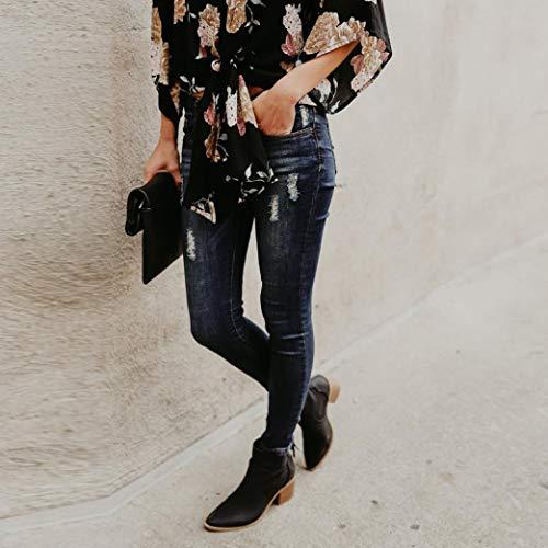 Femmes Dechir Taille Pantalon Pantalon Slim Black POTTOA Pantalon Pantalon Denim Longueur Femme Slim Mollet Skinny Femme Jeans Cher Mollet Jeans Jeans Fluide Stretch Jeans Femme Pas Femme Mi Dechir A88XwEq