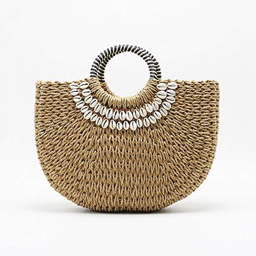 Onorner Summer Beach Bag,Women Straw Handbag Top Handle Large Capacity Travel Tote Purse With Beaded