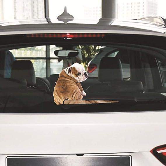 hereubuy Dibujos Animados Gracioso Perro moviendo Cola Pegatinas reflexivas Ventana del Coche calcomanías de limpiaparabrisas Car Styling: Amazon.es: Jardín