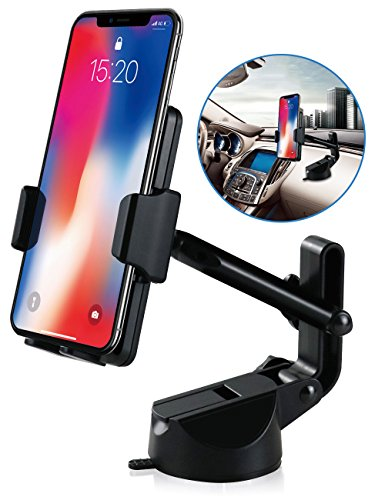 Cell Phone Holder for Car, Car Phone Mount Windshield Long Arm Car Phone Mount with One Button Design and Anti-skid Base Car Holder for iPhone X/8/7/7P/6s/6P,Galaxy S9/S8,Huawei,Google,LG,iPad (Black)