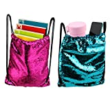 Artoree Mermaid Drawstring Bag Sequin Party Favors Backpack Gift for Girl-2 Pack
