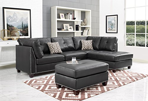 tional with Chaise in Espresso color Faux-Leather with Ottoman (Madrid Leather Storage Ottoman)