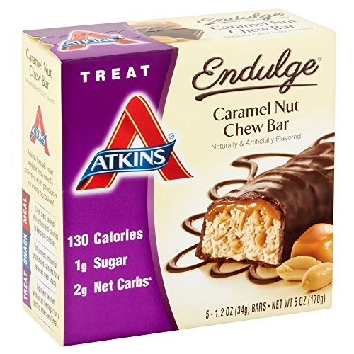 Atkins Endulge Treat, Caramel Nut Chew Bar, 1.2 Ounce, 5 Count (Pack of (Caramel Nut Chew)