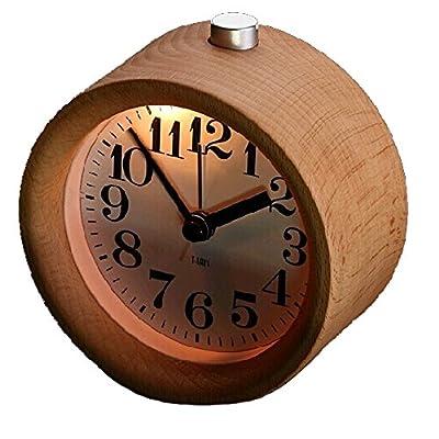 IREVOOR Round Wooden Silent Desk Alarm Clock with Nightlight