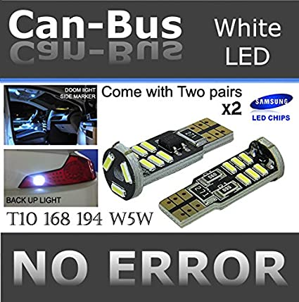 NAKOBO 194 921 T10 LED Bulb Non-polarity 168 2825 W5W 12961 Car Interior Extremely Bright 15SMD 4014 Chipset License Plate Dome Map Door Courtesy Park Lights 6000K Pure White pack of 10