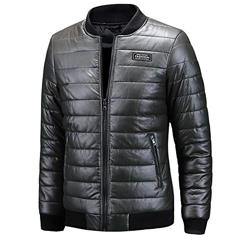 Bke Leather (iYYVV Men's Autumn Winter Casual Long Sleeve Stand Solid Thick Leather Jacket Coat)