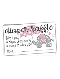 Pink Elephant Diaper Raffle Tickets (50 Count) - Girl Baby Shower Game BOBEBE Online Baby Store From New York to Miami and Los Angeles