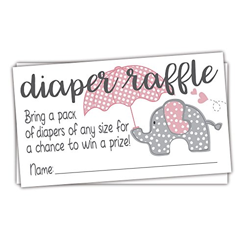 Pink Elephant Diaper Raffle Tickets (50 Count) - Girl Baby Shower -