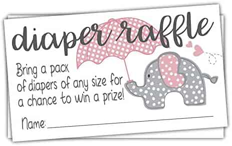 Pink Elephant Diaper Raffle Tickets (50 Count) - Girl Baby Shower Game