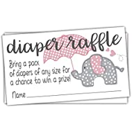 Pink Elephant Diaper Raffle Tickets (50 Count) - Girl...