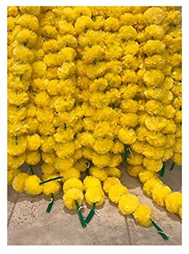 5-pack-Artificial-Yellow-Marigold-flower-garlandsstrings-5-ft-long-for-use-in-parties-celebrations-Indian-weddings-Indian-themed-event-decorations-house-warming-photo-prop-Diwali-Ganesh-Fest