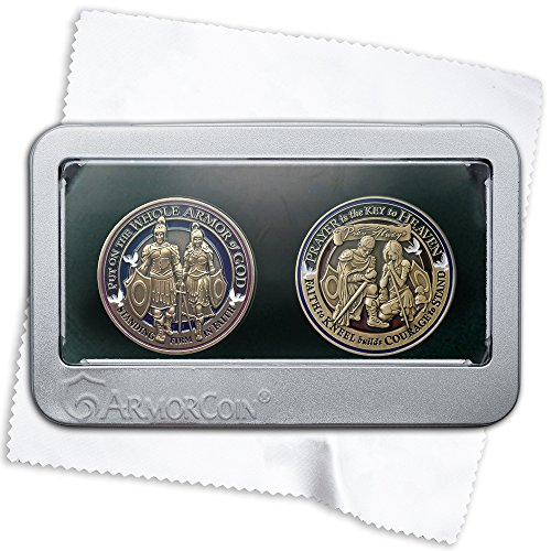 Armor of God Challenge Coin AND Prayer challenge Coin in Deluxe Display Tin Box - 2 challenge coin set with bonus polishing cloth from Armor Coin
