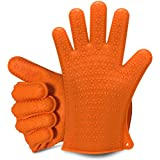 Heat Guardian Silicone BBQ Grill Oven Gloves -Ideal for Barbeque, Oven, Cooking, Frying, Baking, Smoking, and Potholder-Protection Up To 425 Degrees & One-Size-Fits-Most (Orange)