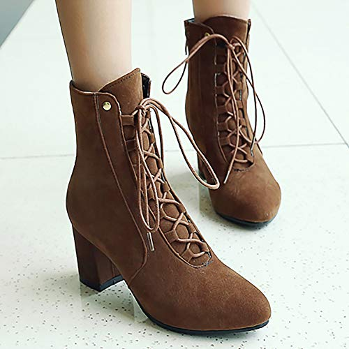 Ankle Brown Boots Block Bootie Autumn Women Coolcept Heel ZnqRvXAw