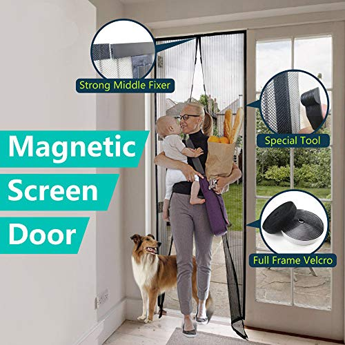 Mecfocus-NEW Magnetic Screen Door 43.3x94.5' MAX, Width and Length Adjustable by Cut, Special Top...