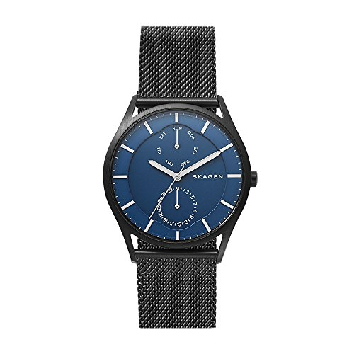 Watch Skagen Multifunction - Skagen Men's Holst Stainless Steel Mesh Casual Watch, Color: Black (Model: SKW6450)