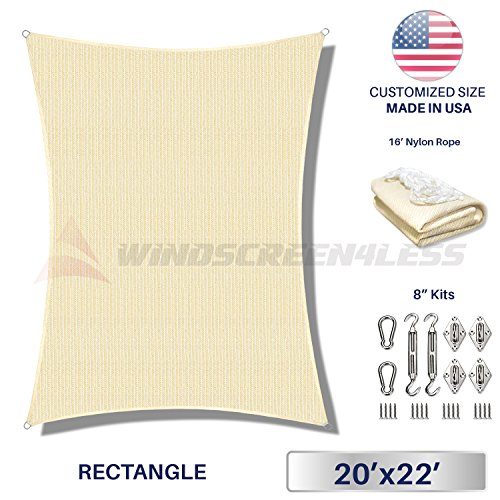 Windscreen4less 20 x 22 Rectangle Sun Shade Sail with 8 inch Hardware Kit – Beige Durable UV Shelter Canopy for Patio Outdoor Backyard – Custom Size