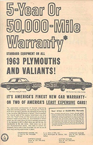 1963 Plymouth Fury (1963 Plymouth Fury & Valiant Dealer Newspaper Ad)