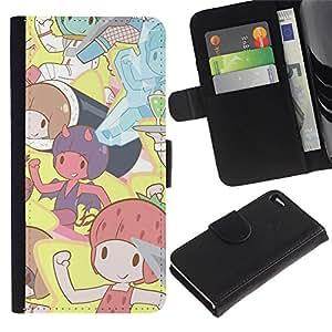KLONGSHOP // Tirón de la caja Cartera de cuero con ranuras para tarjetas - Pixies lindos dibujos animados - Apple Iphone 4 / 4S //
