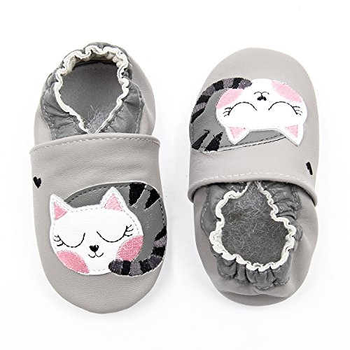 Unicorn Baby Moccasins Girl and Boy Soft Leather Toddler First Walker Shoes 0-6-12-18-24 Months (4 M Toddler(4.75inch/ 3-6Mo.), Grey Kitty) (Leather Boys Soft)
