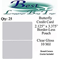 10 mil - Premium Butterfly Laminating Pouches 2.125 x 3.375 - QTY: 25 - Gloss - Credit Card Size