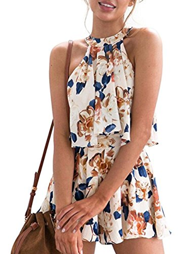 Sanifer Women's Sexy Floral Rompers Summer 2 Piece Outfits Sets Short Jumpsuits Playsuits