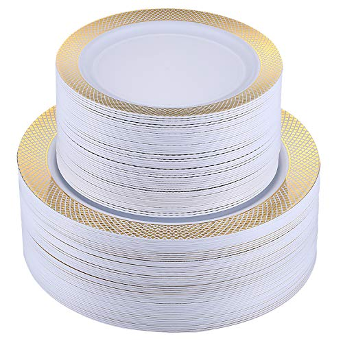 FOCUS LINE 102PCS Gold Plastic Plates, with Grid Rim Design Disposable Plates Heaveyweight Plates for Wedding Party, 51pcs Elegant 10.25 Inch Dinner Plates and 51 7.5 Inch Appetizer Dessert Plates (Triangle Plates Shaped)