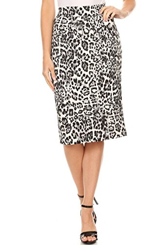 Women's Below The Knee Pencil Skirt for Office Wear - Made in USA (Size Medium, Black Animal Print) -
