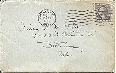 1918 Postal Cover And Letter 3 Cent US Postage Stamp Scott #501 Canceled Aug 6,1918 Poughkeepsie,NY